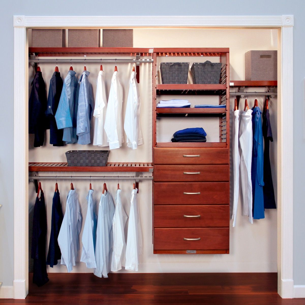 Captivating Closet Organizer Kit   16in. Deep Deluxe Wood Closet Organizer With 5  Drawers L John Louis Home