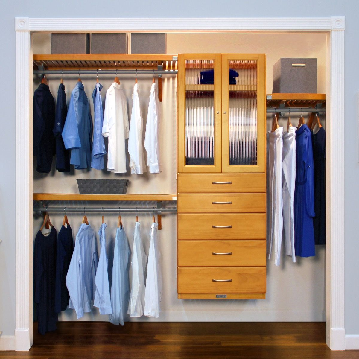 Closet Organizer Kit   16in. Deep Deluxe Wood Closet Organizer With 5  Drawers And Fluted Glass Doors L John Louis Home