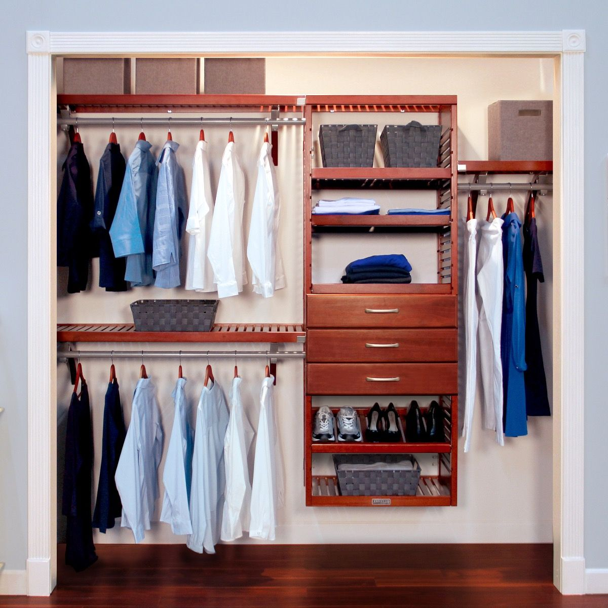 Closet Organizer Kit   16in. Deep Deluxe Wood Closet Organizer With 3  Drawers L John Louis Home