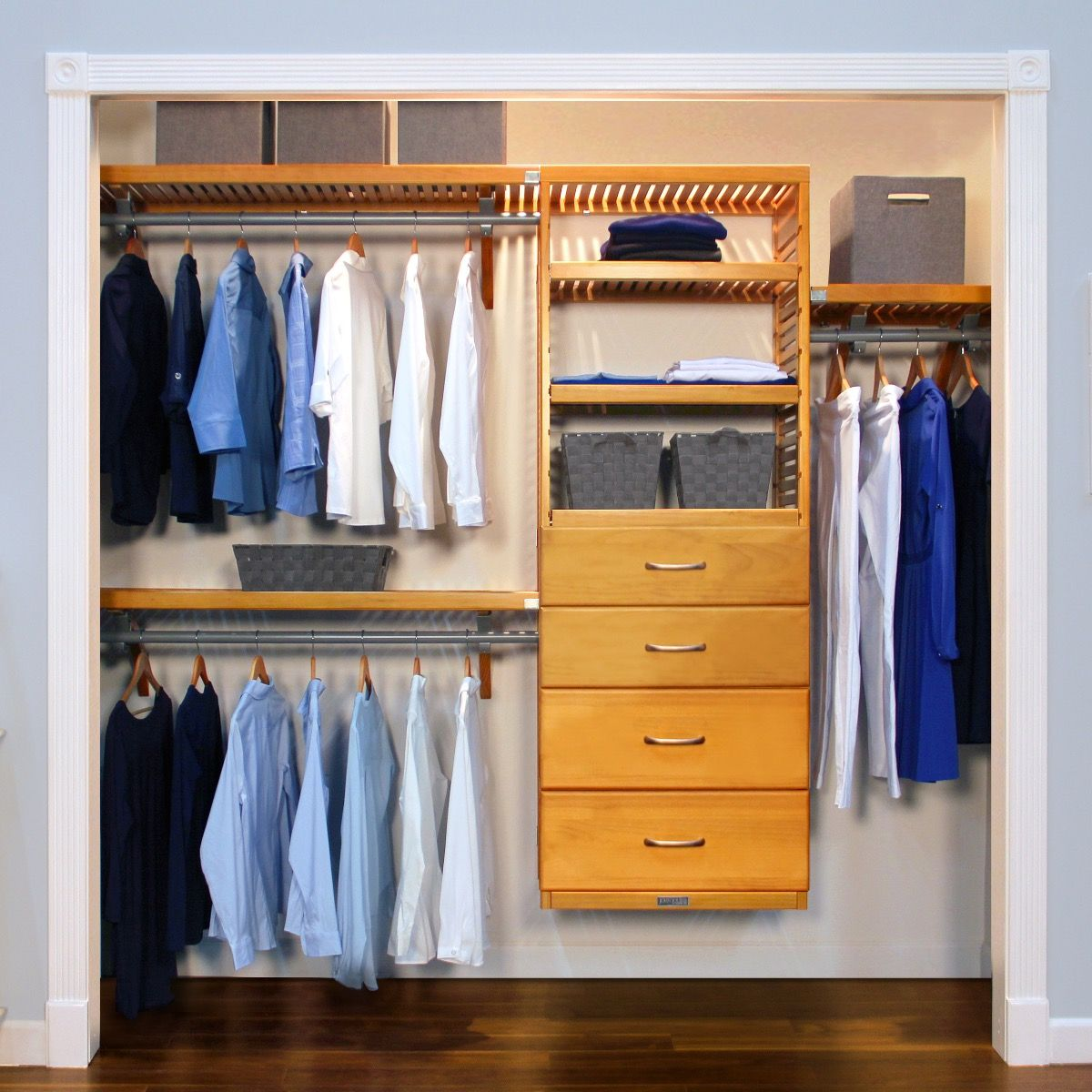 Closet Organizer Kit   16in. Deep Deluxe Wood Closet Organizer With 4  Drawers L John Louis Home