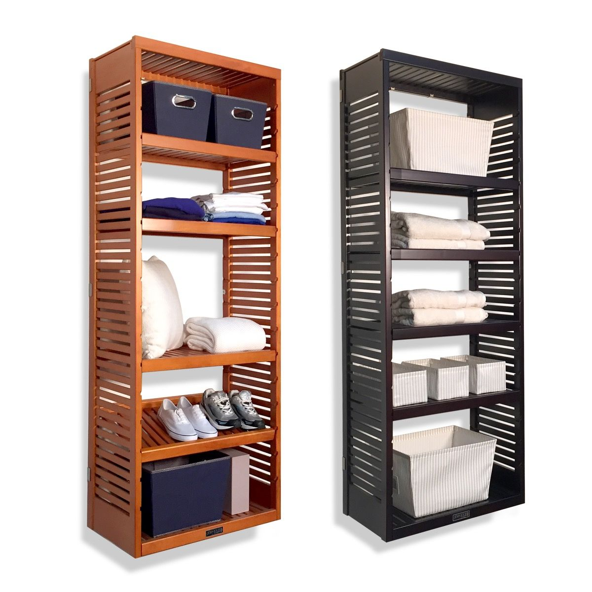 16in deep woodcrest 6ft storage tower with shelves