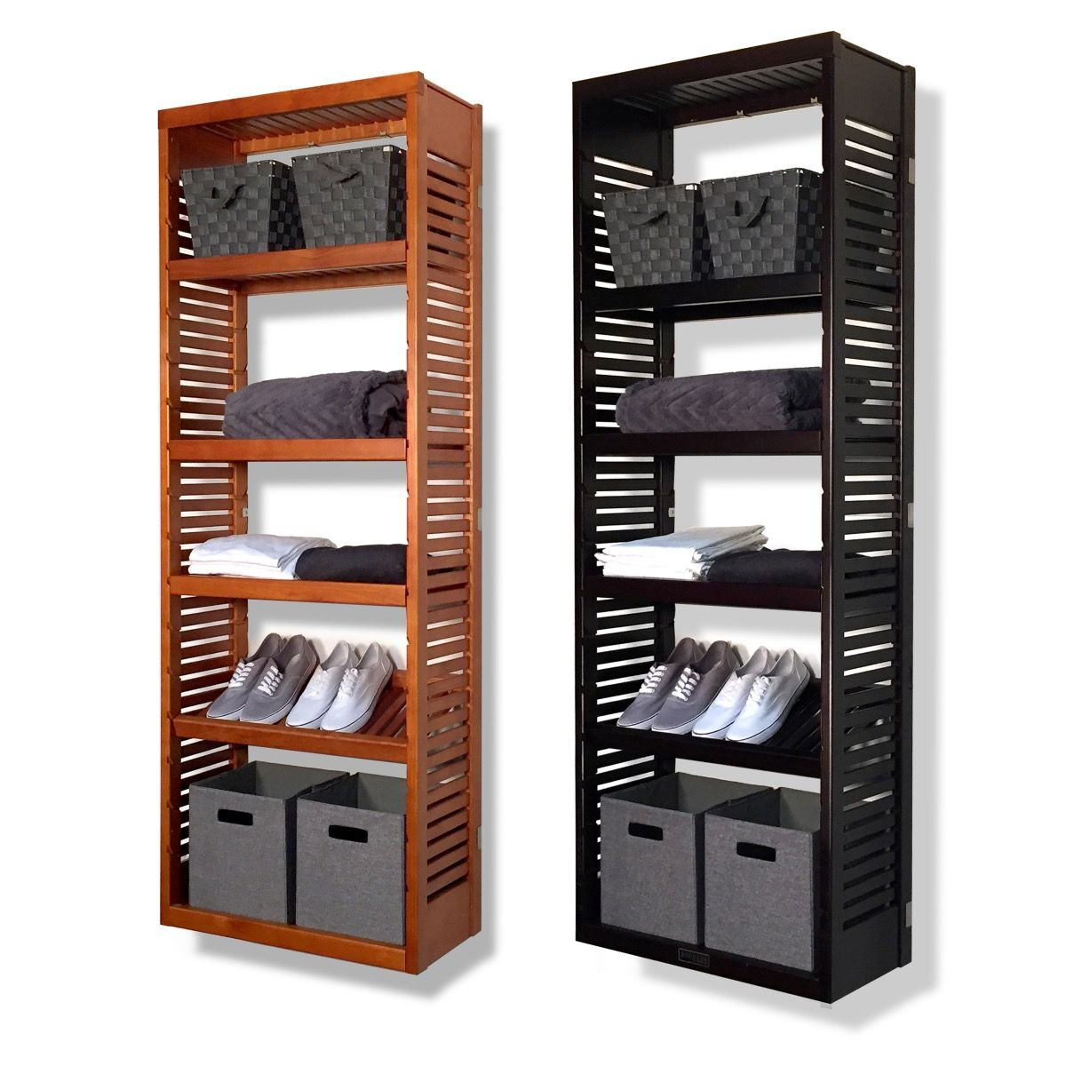Closet Organizer Kit 12in Deep Woodcrest 6ft Tower With Adjule Shelves John Louis Home