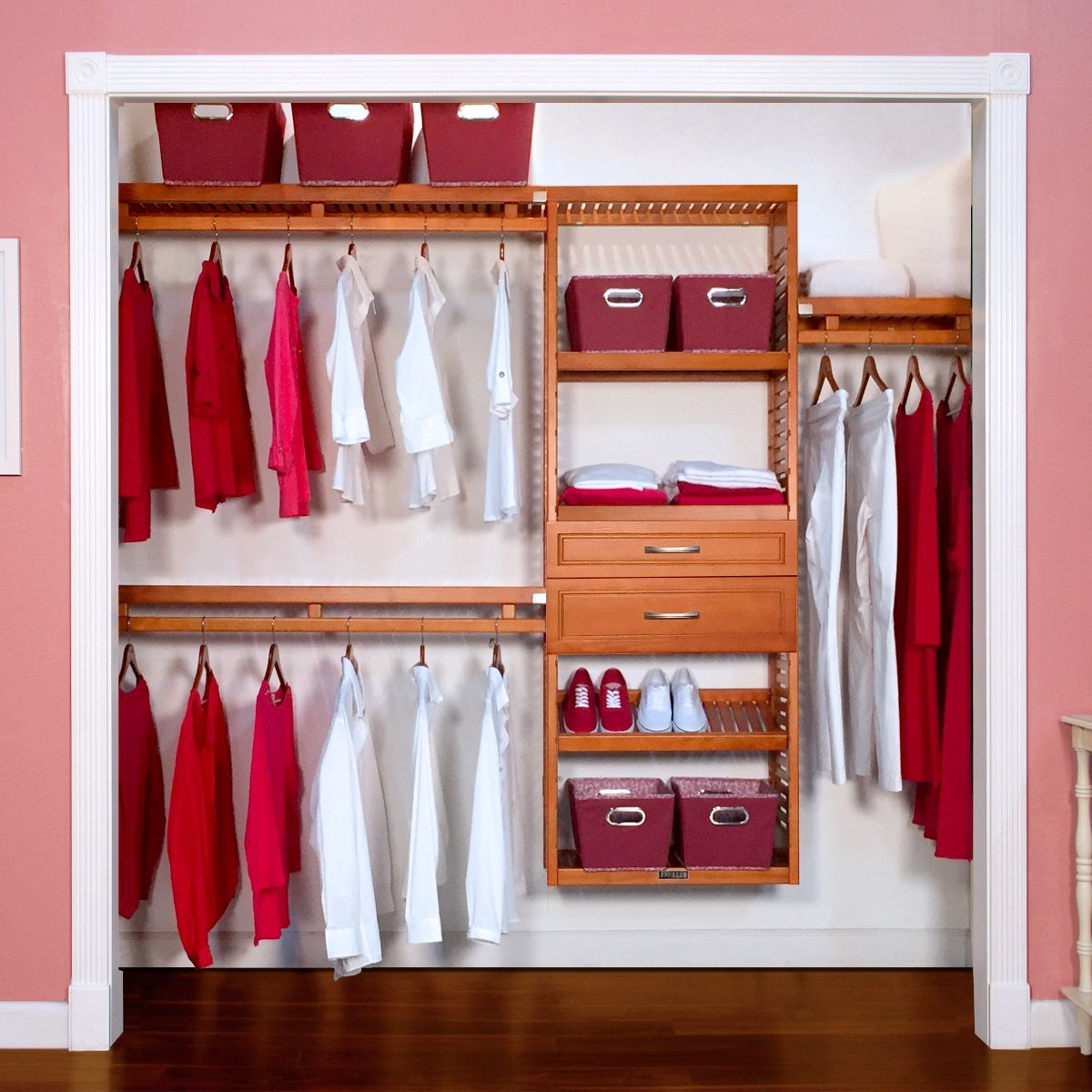 Incroyable Woodcrest Simplicity Wood Closet Organizer With 2 Drawers 6in And 8in Deep  L John Louis Home