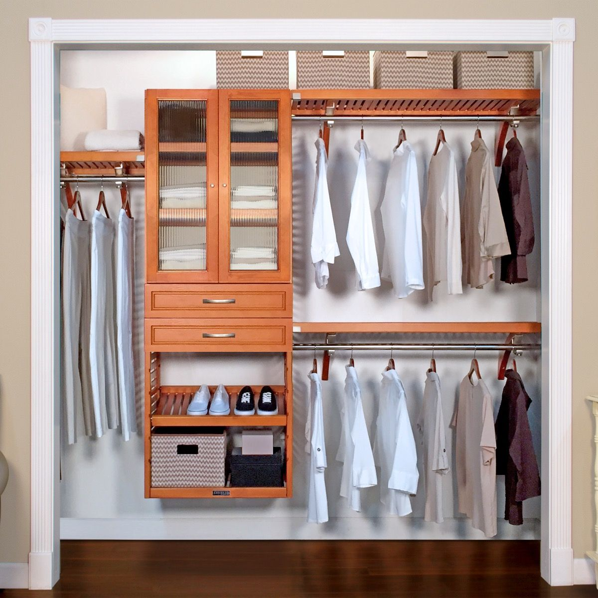 16in. Deep Woodcrest Deluxe Closet Organizer with 2 ...