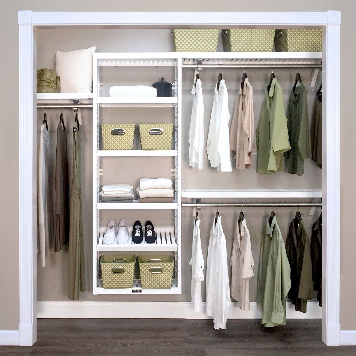 Picture of: Woodcrest White Premier Closet Organizer L John Louis Home
