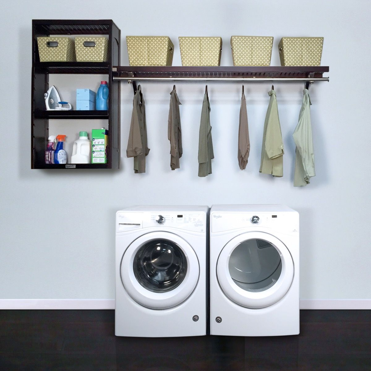12in Deep Solid Wood Woodcrest 8ft Laundry Organizer