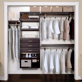 16in. Deep Woodcrest Premier Organizer with 3 Drawers caramel main lifestyle configuration