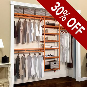 12in. Deep Woodcrest Standard Closet Organizer Caramel Finish lifestyle image