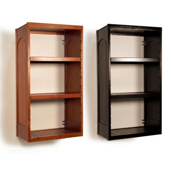 16in. Deep Woodcrest Tower with Shelves Caramel finish