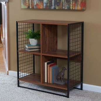 Laminate 4 Cube Organizer with Metal Sides - Hickory