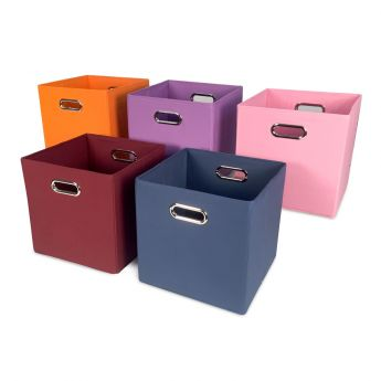 Cube Canvas Storage Bin - Burgundy angled view
