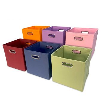 Cube Canvas Storage Bin - Burgundy angled view