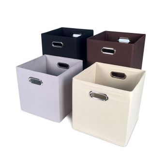Cube Canvas Storage Bin - Cream angled view