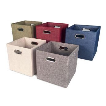 Cube Tweed Storage Bin - Cream angled view
