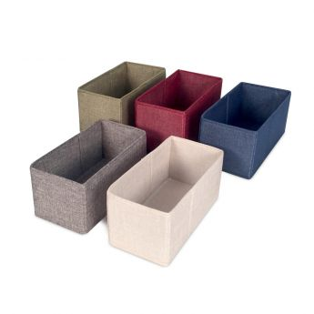 Half Rectangle Tweed Storage Bin - Cream angled view