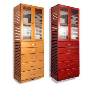 16in. Deep Tower with Drawers and Doors Honey Maple finish