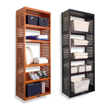 16in. Deep Woodcrest 6ft. Tower with Shelves Caramel finish