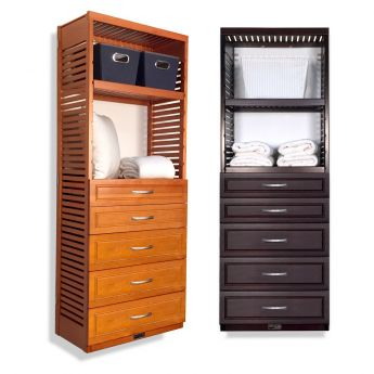 16in. Deep Woodcrest Tower with Drawers Caramel finish