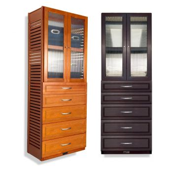 12in. Deep Woodcrest 6ft. Tower with Drawers and Doors
