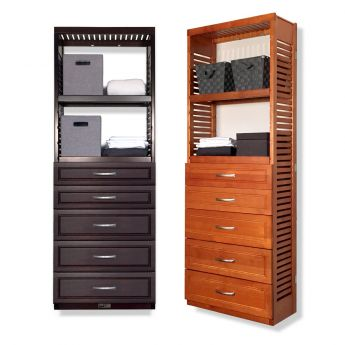 12in. Deep Woodcrest 6ft. Tower with Drawers
