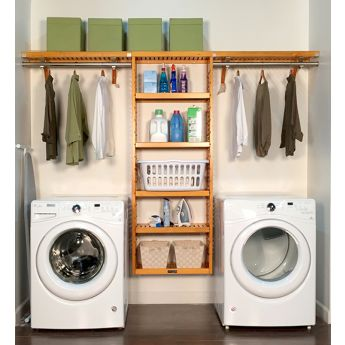 12in. Deep Solid Wood 10ft. Laundry Organizer