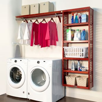12in. Deep Solid Wood 8ft. Laundry Organizer