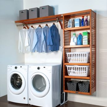 16in. Deep Solid Wood 8ft. Laundry Organizer