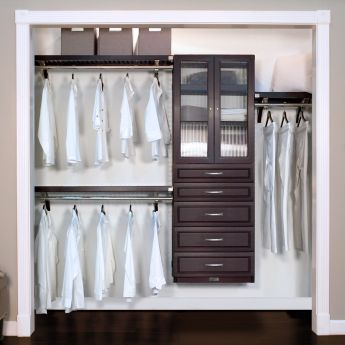 12in. Deep Woodcrest Premier Organizer with 5 drawers and doors caramel main lifestyle configuration