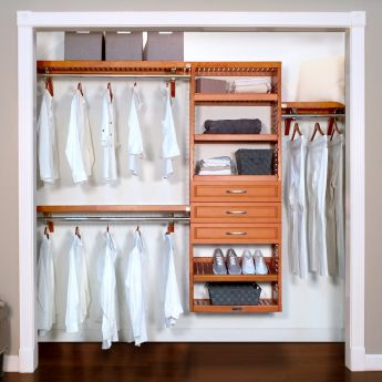 12in. Deep Woodcrest Premier Organizer with 3 Drawers caramel main lifestyle configuration