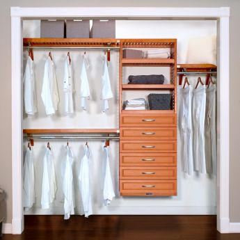 12in. Deep Woodcrest Premier Organizer with 6 Drawers caramel main lifestyle configuration