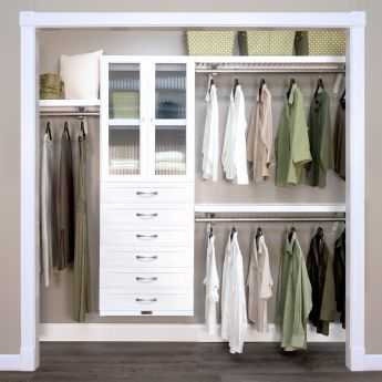 12in. Deep Woodcrest White Premier Organizer - 6 Drawers with Doors - 6in. Deep