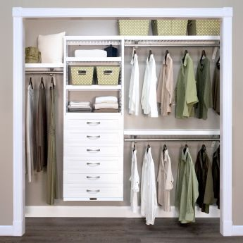 12in. Deep Woodcrest White Premier Organizer - 6 Drawers - 6in. Deep