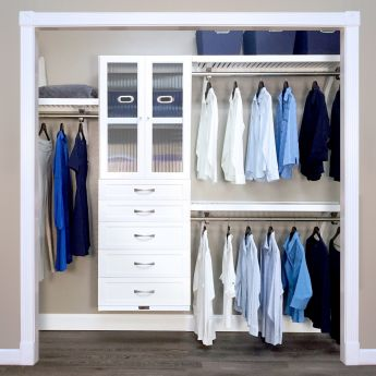 16in. Deep Woodcrest White Deluxe Organizer - 5 Drawers with Doors - 6 & 8in. Deep