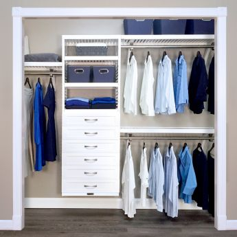 16in. Deep Woodcrest White Deluxe Organizer - 6 Drawers - 6in. Deep
