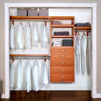 12in. Deep Woodcrest Premier Organizer with 5 drawers caramel main lifestyle configuration