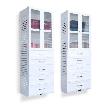 12in tower with drawers and door main image