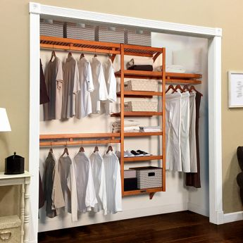 12in. Deep Woodcrest Standard Closet Organizer Caramel Finish lifestyle image