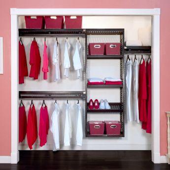 Deep Woodcrest Simplicity Closet Organizer Espresso Finish Lifestyle Image