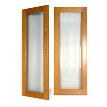 Fluted Glass Doors Honey Maple finish