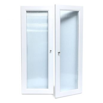 Woodcrest White Fluted Glass Doors