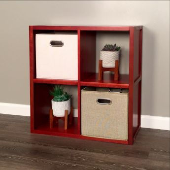 John Louis Home Red Mahogany 4 cube storage organizer lifestyle