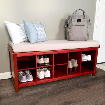 John Louis Home Red Mahogany Shoe Bench lifestyle