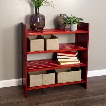 John Louis Home 2-Tier Red Mahogany Storage Rack lifestyle