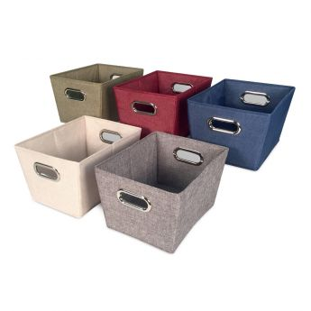 Rectangle Tweed Storage Bin - Cream angled view