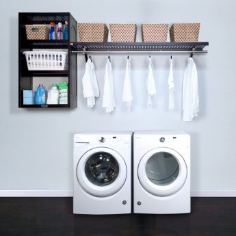 16in. Deep Solid Wood Woodcrest 8ft. Laundry Organizer