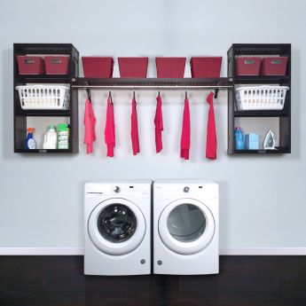 12in. Deep Solid Wood Woodcrest 10ft. Laundry Organizer