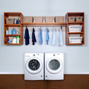 16in. Deep Solid Wood Woodcrest 10ft. Laundry Organizer
